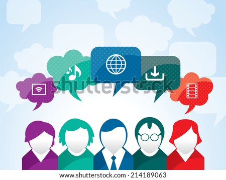 Teamwork of business people interacting in social network - stock vector