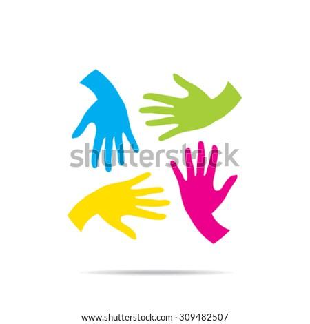 teamwork or helping hand design vector - stock vector