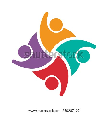 Teamwork people logo 4 . Concept of group of people collaboration and great work. - stock vector