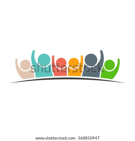 Teamwork Six Friends logo icon. Concept of Group of People, happy team, victory - stock vector