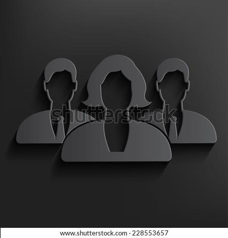 Teamwork symbol on dark background,clean vector - stock vector