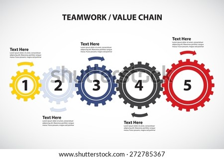 Teamwork / Value Chain - 5 Cogwheels with Arrows, Vector Infographic - stock vector