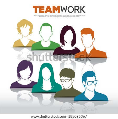 Teamwork with group of people - stock vector