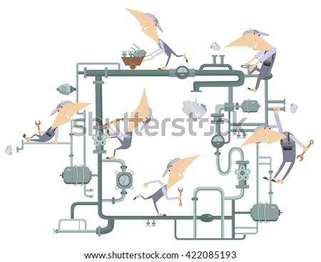 Teamwork work. Maintenance crew repairs pipe construction  - stock vector