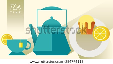 Teapot and cup. Vector silhouettes on a white background. Breakfast. Dessert menu. Cupcake with tea. Lunch. Tea time. Kettle. Vector flat illustration for cafe, confectionery, sweet-shop, pastry-shop  - stock vector