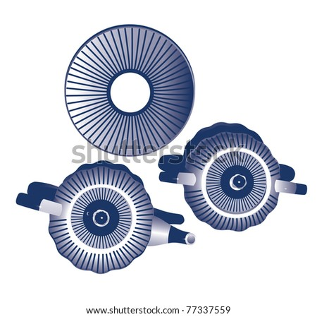 Teapot, sugar bowl, saucer in a strip of dark blue color/Teapot, sugar bowl, saucer in a strip of dark blue color on a white background - stock vector