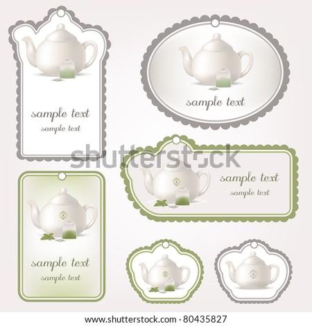 teapot tags - stock vector