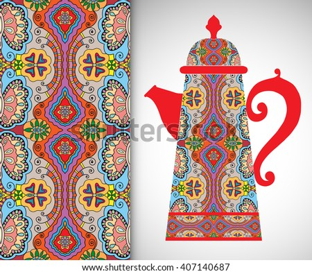 Teapot with decorative ornament and vertical floral geometric seamless pattern, hand drawn repeating texture for Wedding, Bridal, Valentine's day or Birthday Invitations. Fabric or paper print - stock vector