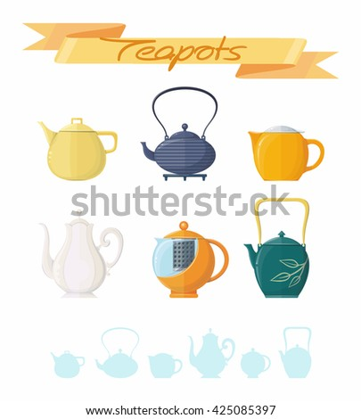 Teapots set with lettering, objects on white background. Vector illustration. - stock vector