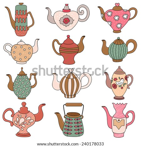 Teapots with doodle elements  flowers, hearts, in cartoon style. Vector - stock vector