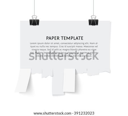 Tear off stripes of paper sheet. Street advertisement template with copy space template isolated on white background. Tear off paper notice on the wall. - stock vector