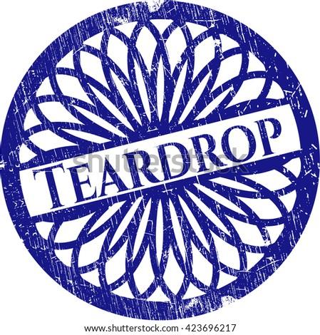 Teardrop rubber grunge stamp - stock vector