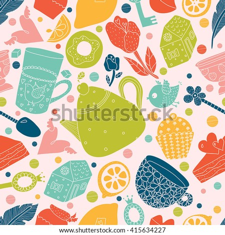 Teatime. Colorful vector seamless pattern. - stock vector