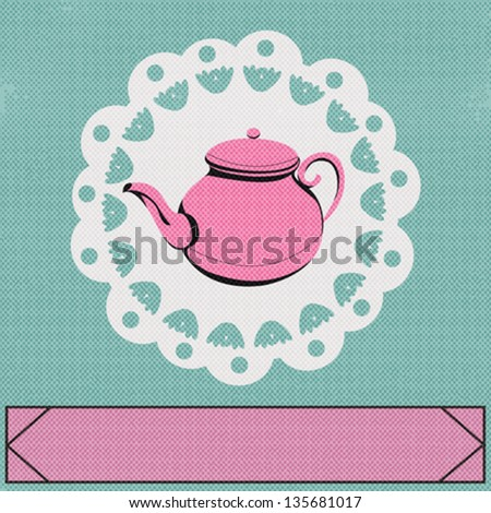 Teatime, Vector background with a vintage style teapot - stock vector