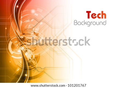 tech background as red and white gradient - stock vector