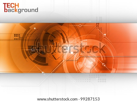 tech background in the red clolors - stock vector