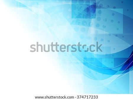 Tech corporate blue wavy background. Vector drawing illustration - stock vector