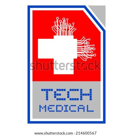 Tech medical symbol - stock vector