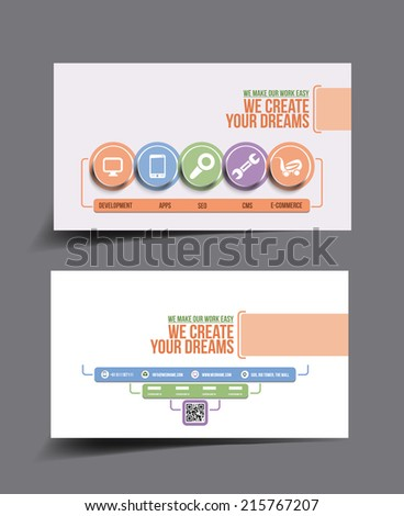 Tech Multipurpose Business Card Template.  - stock vector