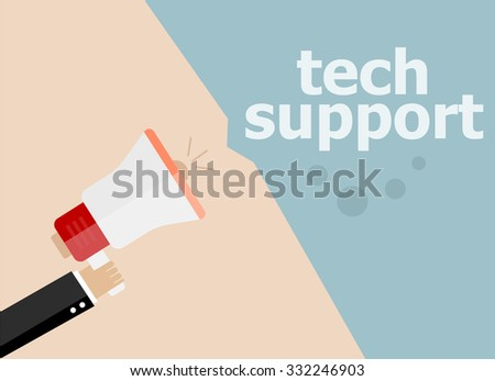 tech support, . Hand holding a megaphone. Vector illustration a flat style - stock vector