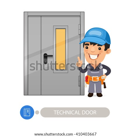 Technical Door with Cartoon Worker. In the EPS file, each element is grouped separately. Clipping paths included. - stock vector
