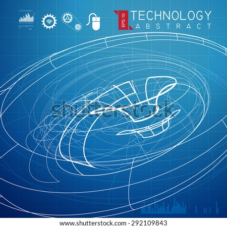 Technical Drawing Abstract - Exploration - Illustration - stock vector