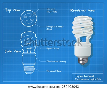 Technical drawing of a small compact fluorescent light bulb. All paths have been converted to shapes. Layer-separated. - stock vector