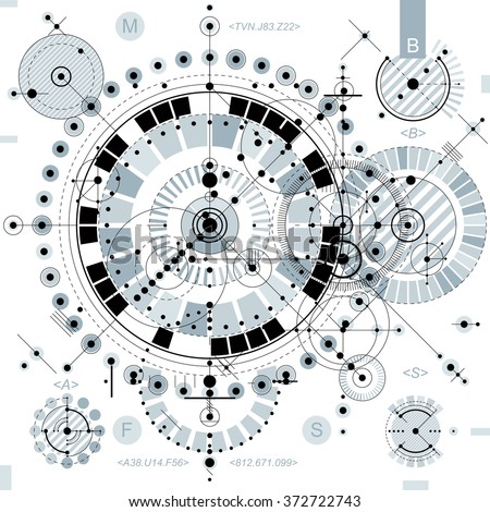 Technical drawing with dashed lines and geometric shapes, vector futuristic technology wallpaper, engineering draft.  - stock vector