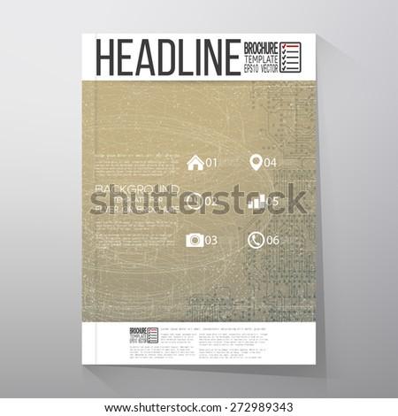 Technical retro background. Brochure, flyer or report for business, template vector. - stock vector