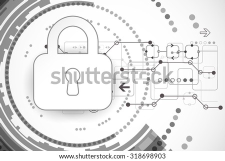 Technical security. Padlock and confidential cyberspace, virtual control data, encoding and decoding, algorithm script programming scheme, vector illustration - stock vector
