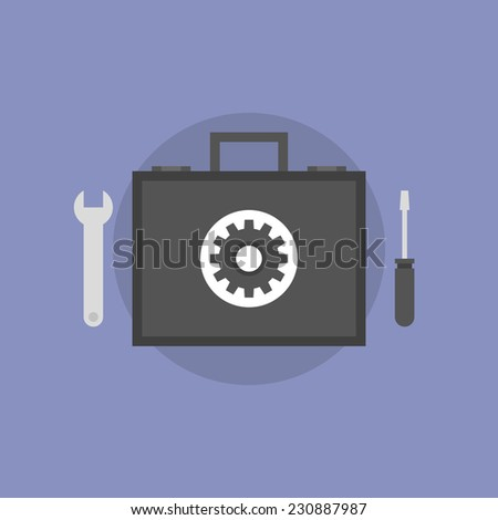 Technical support and maintenance service, repair toolbox with tech instruments, help with hardware problem. Flat icon modern design style vector illustration concept. - stock vector