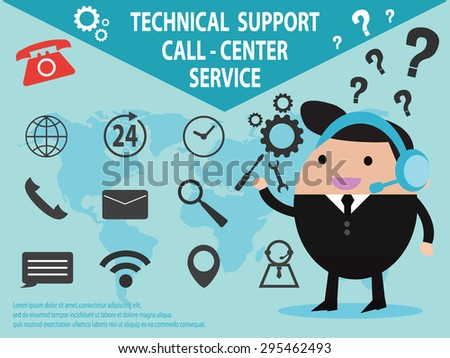 Technical support call center and service with icon set isolated vector illustration EPS 10 - stock vector