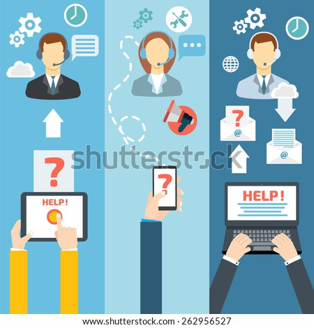 Technical support call center contact flat banner set vector illustration - stock vector