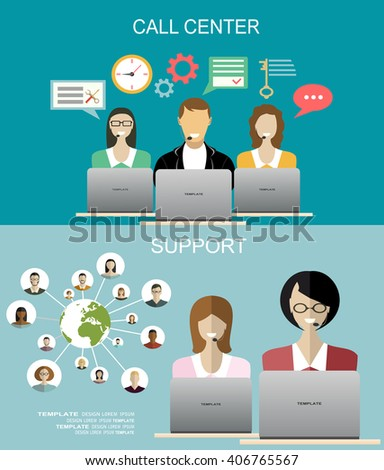Technical support call center, support concept. Flat design concept for web banners, web sites, printed materials, infographics. - stock vector