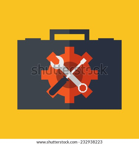 Technical support concept. Flat design stylish. Isolated on color background - stock vector