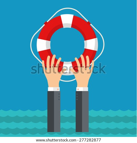 Technical support concept. Online help. Flat background with hand and lifebuoy.  - stock vector