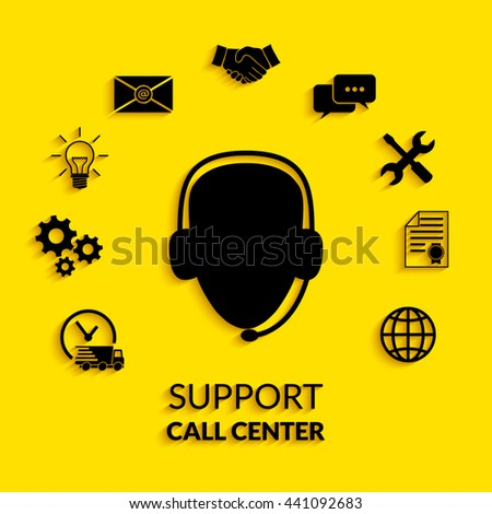 Technical support operator flat icon. - stock vector