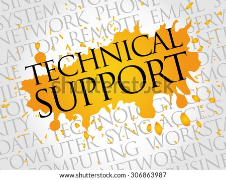 Technical support word cloud concept - stock vector