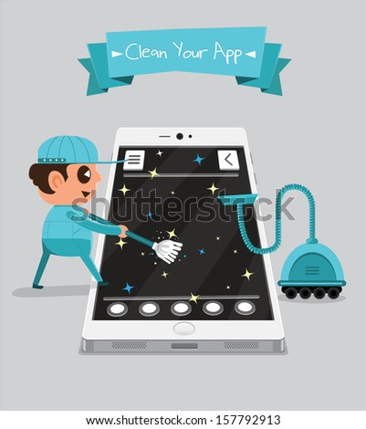 Technician smartphone service to your application   Clean Your App - stock vector