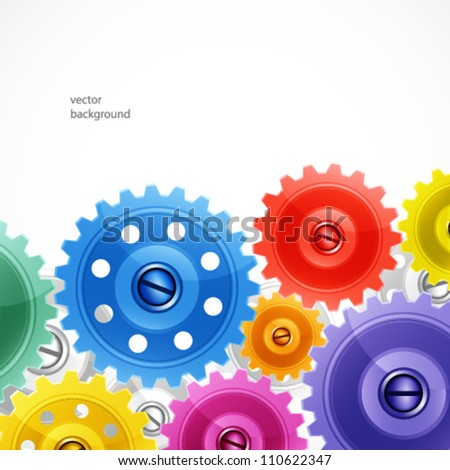 Techno background with colorful gears. - stock vector
