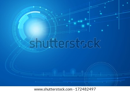 techno blue background - stock vector