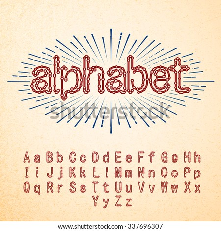 Techno Fonts Trendy Stylish Alphabet - stock vector