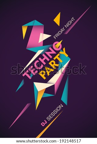 Techno party poster with abstract design. Vector illustration. - stock vector