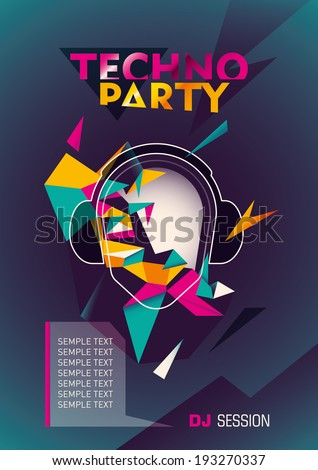 Techno party poster with abstraction. Vector illustration. - stock vector