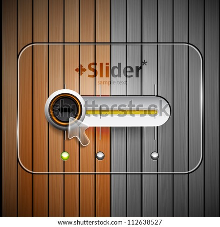 Techno vector slider design and wood texture - stock vector
