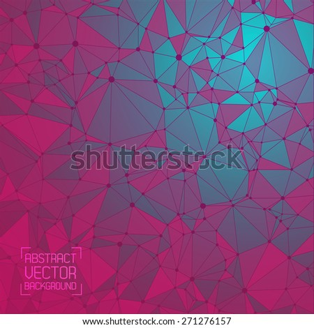 Technological  background with a pattern of debris, triangles, highlights, lines and dots. Gradient color. For web design and business presentations. Vector. - stock vector