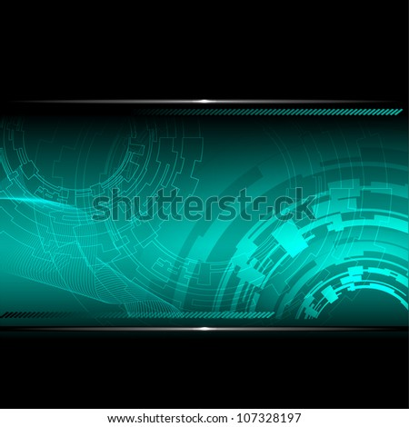 Technological background with metallic banner. Vector illustration. - stock vector