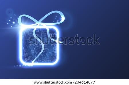 Technological circuit board gift box background. Vector eps10. - stock vector