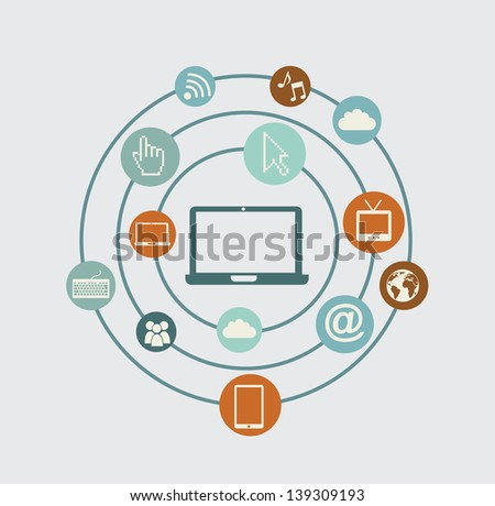 technological network over blue background vector illustration - stock vector