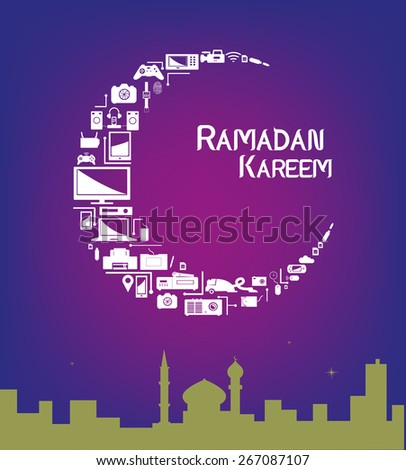 Technological products forming a Crescent Moon with a mosque within a city. Promotional sale layout artwork for Ramadan season. Editable EPS10 vector and jpg illustration. - stock vector